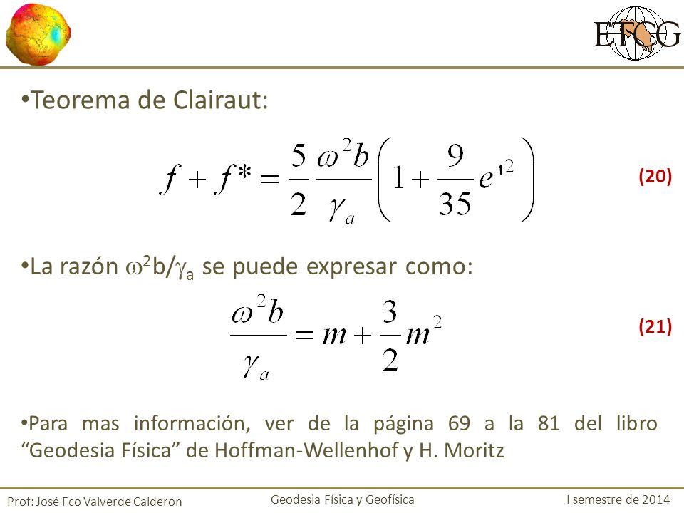 Teorema de Clairaut: La razón 2b/a se puede expresar como: