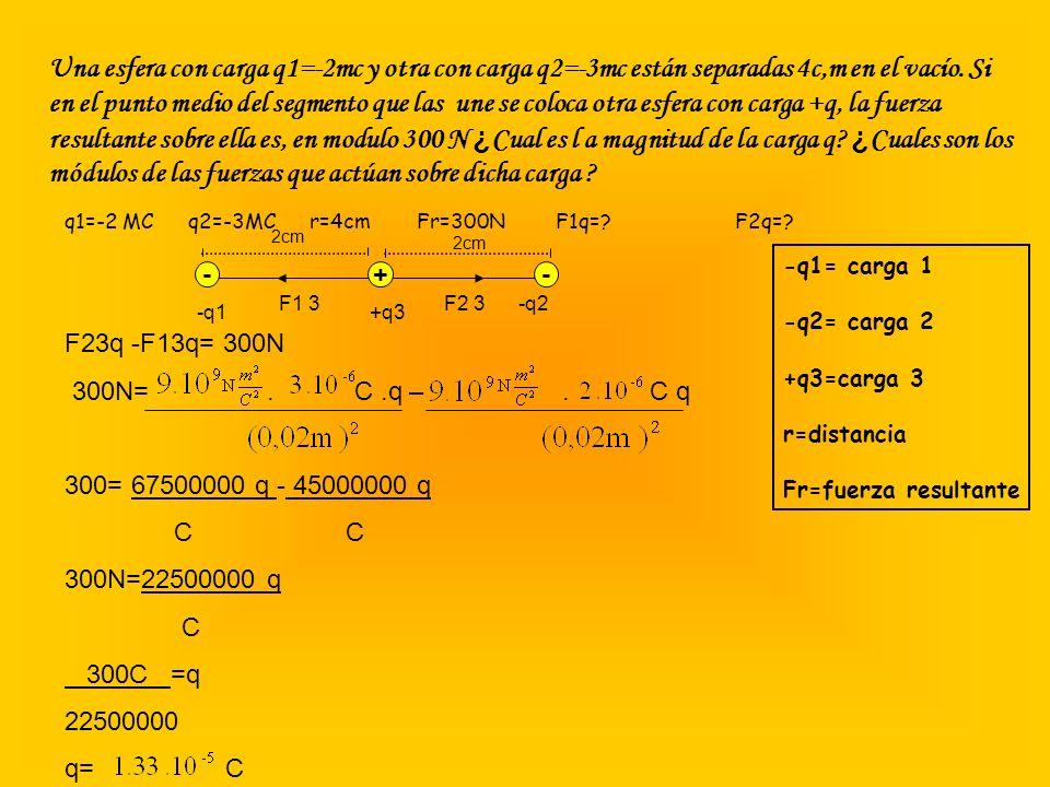 Una esfera con carga q1=-2mc y otra con carga q2=-3mc están separadas 4c,m en el vacío. Si en el punto medio del segmento que las une se coloca otra esfera con carga +q, la fuerza resultante sobre ella es, en modulo 300 N ¿Cual es l a magnitud de la carga q ¿Cuales son los módulos de las fuerzas que actúan sobre dicha carga