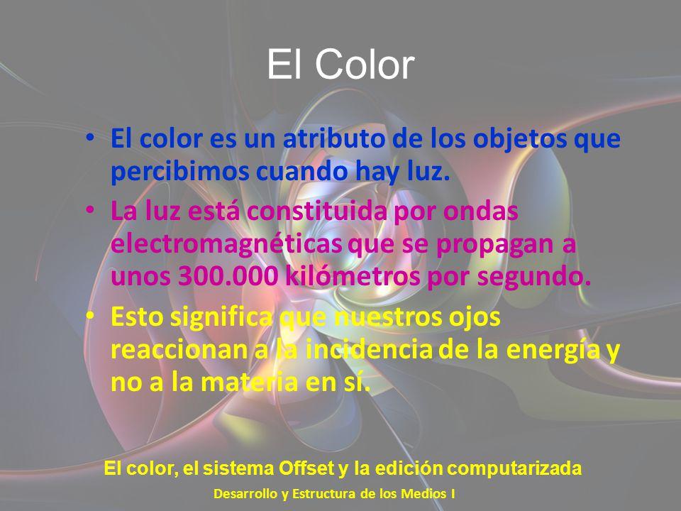 El Color El color es un atributo de los objetos que percibimos cuando hay luz.