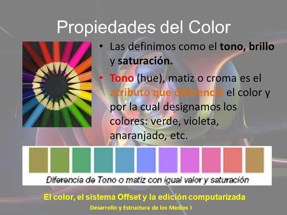 Propiedades del Color Las definimos como el tono, brillo y saturación.