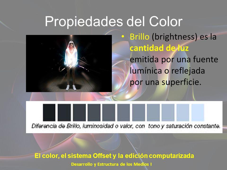 Propiedades del Color Brillo (brightness) es la cantidad de luz emitida por una fuente lumínica o reflejada por una superficie.