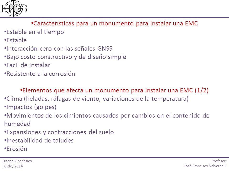 Características para un monumento para instalar una EMC