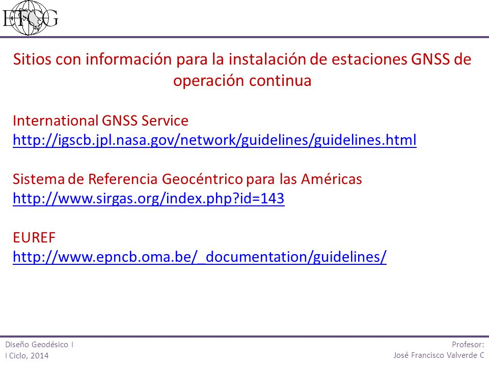 Sitios con información para la instalación de estaciones GNSS de operación continua