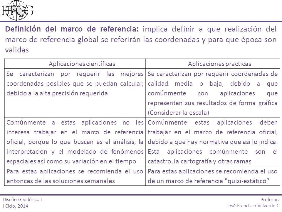 Definición del marco de referencia: implica definir a que realización del marco de referencia global se referirán las coordenadas y para que época son validas