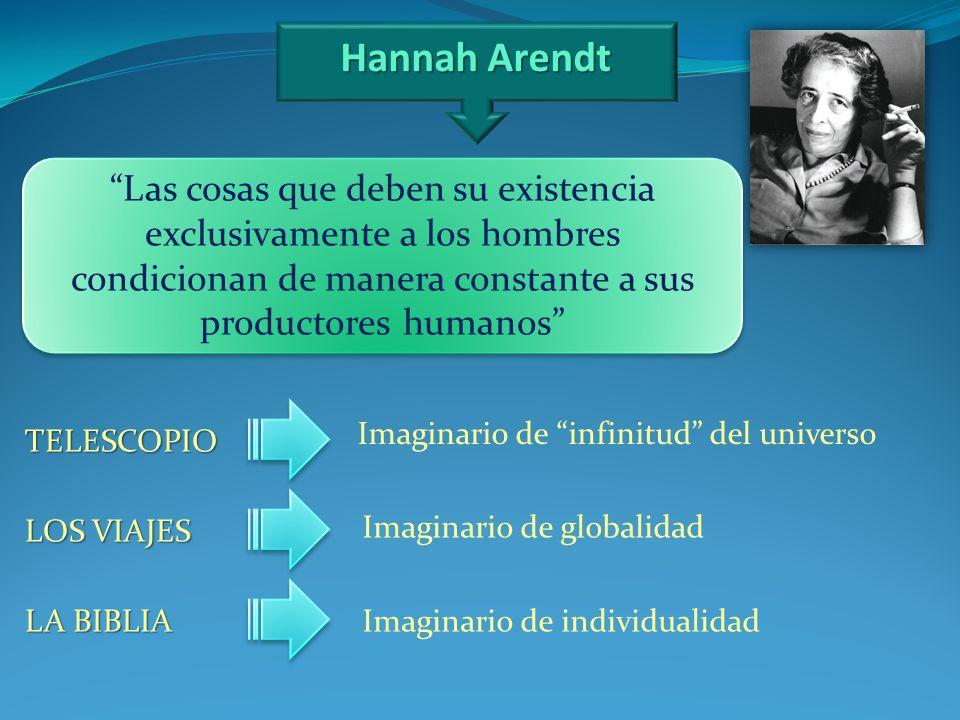 Hannah Arendt Las cosas que deben su existencia exclusivamente a los hombres condicionan de manera constante a sus productores humanos
