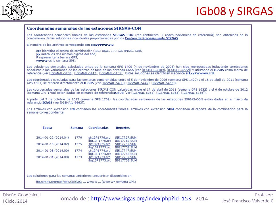 Tomado de : http://www.sirgas.org/index.php id=153, 2014