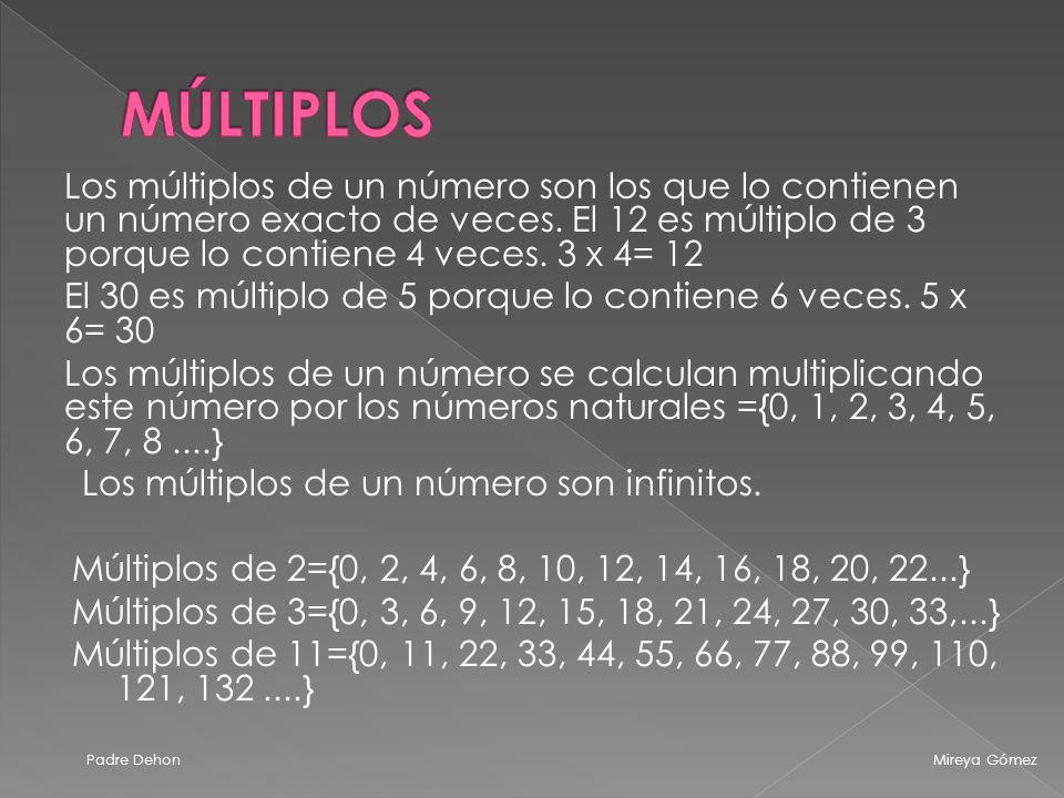 MÚLTIPLOS Los múltiplos de un número son los que lo contienen un número exacto de veces. El 12 es múltiplo de 3 porque lo contiene 4 veces. 3 x 4= 12.