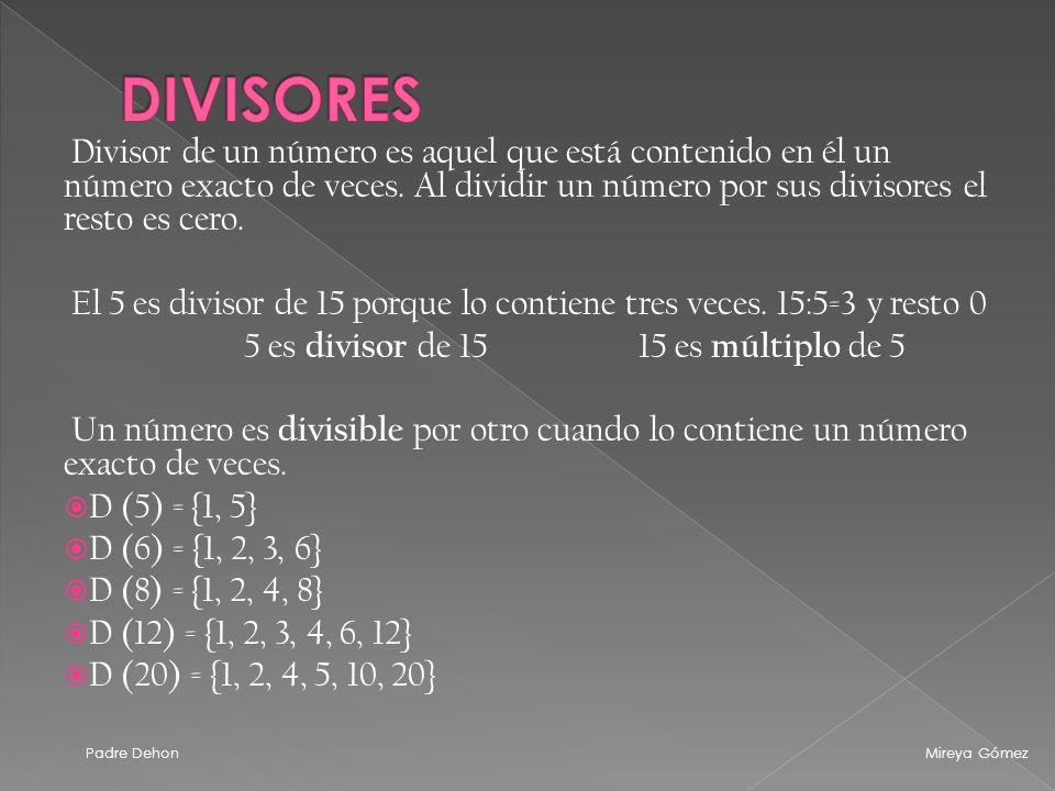 DIVISORES Divisor de un número es aquel que está contenido en él un número exacto de veces. Al dividir un número por sus divisores el resto es cero.
