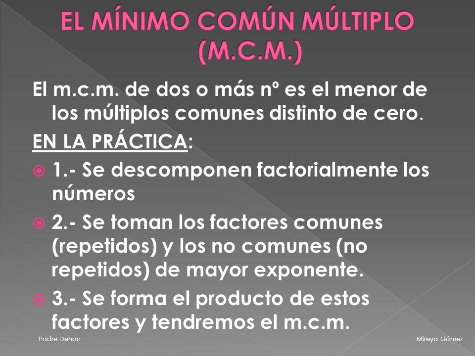 EL MÍNIMO COMÚN MÚLTIPLO (M.C.M.)