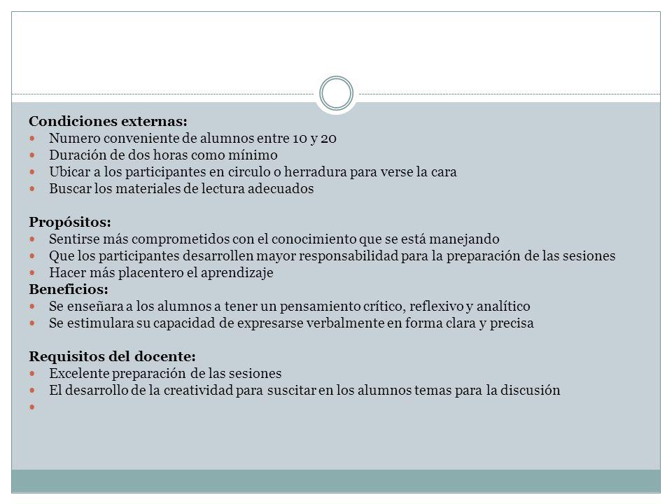 Condiciones externas: