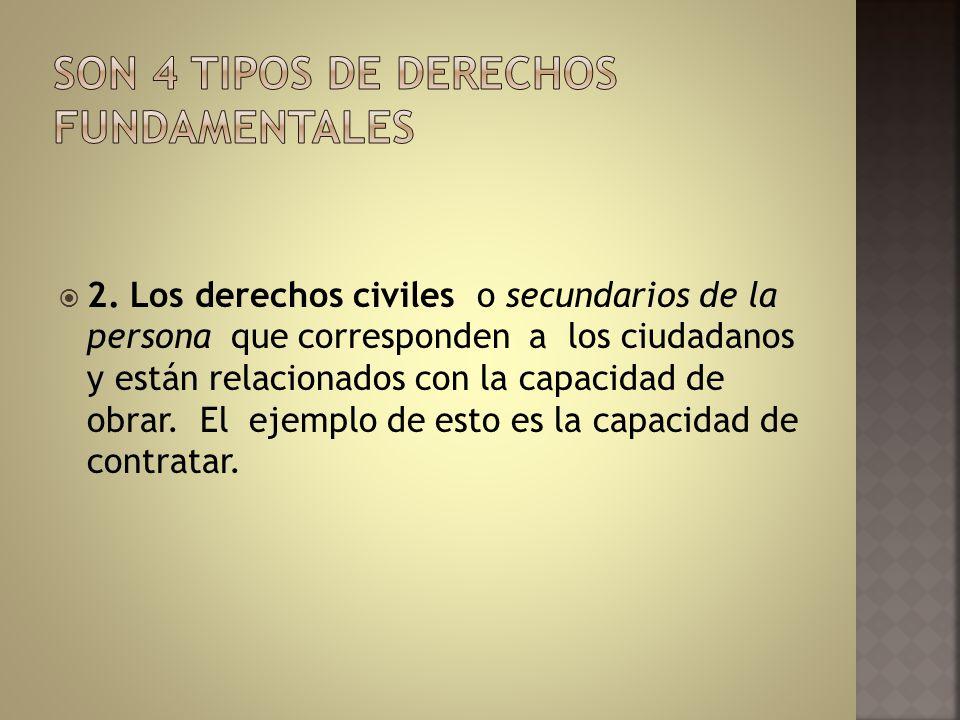 Son 4 tipos de derechos fundamentales