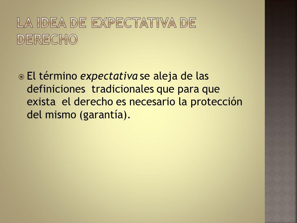 La idea de expectativa de derecho