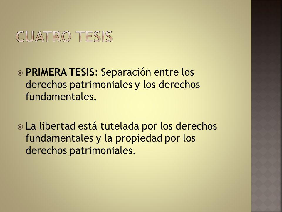 Cuatro tesis PRIMERA TESIS: Separación entre los derechos patrimoniales y los derechos fundamentales.