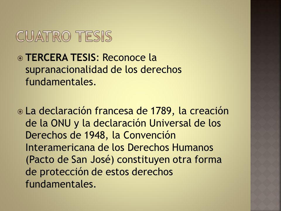 Cuatro tesis TERCERA TESIS: Reconoce la supranacionalidad de los derechos fundamentales.