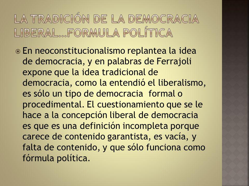 La tradición de La democracia liberal…formula política