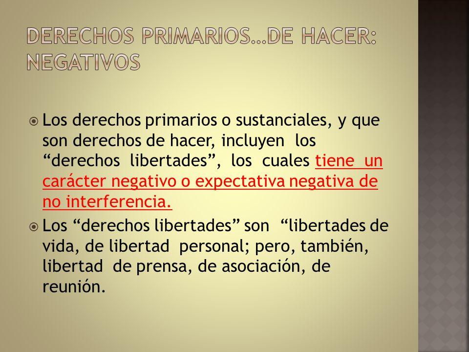DERECHOS PRIMARIOS…DE HACER: NEGATIVOS