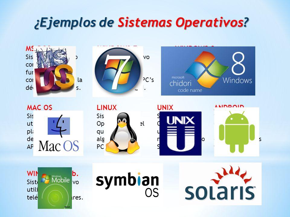 ¿Ejemplos de Sistemas Operativos