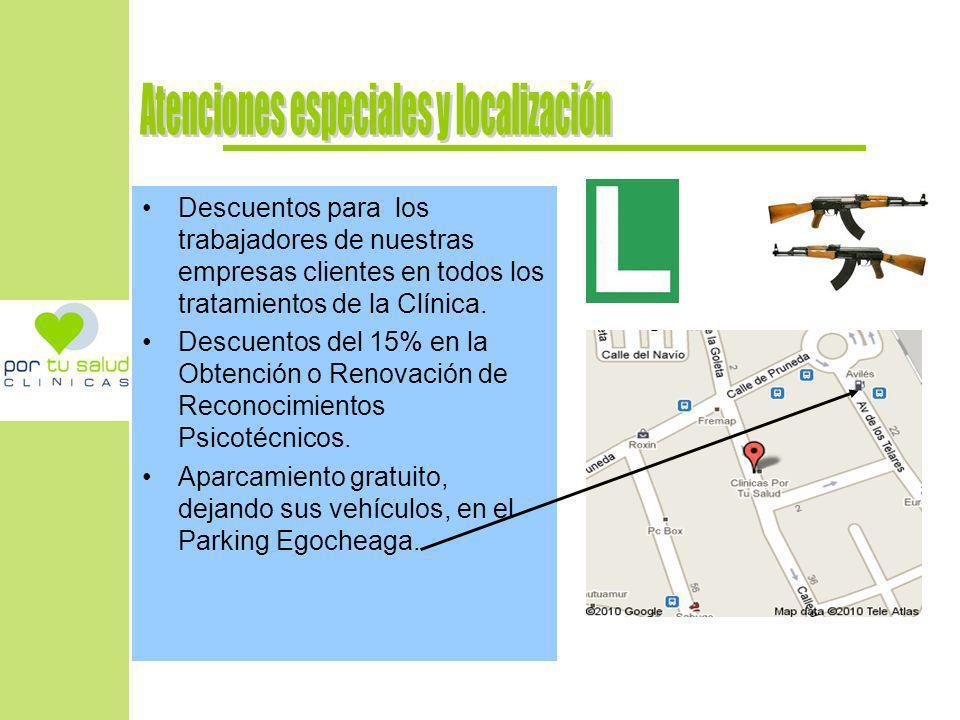 Atenciones especiales y localización