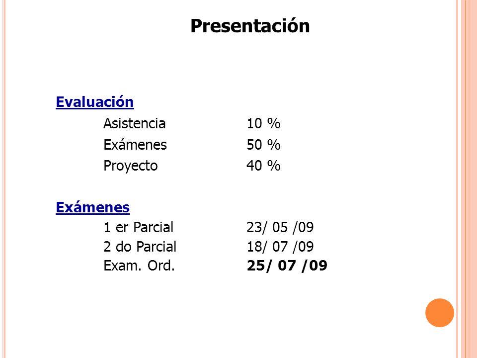Presentación Evaluación Asistencia 10 % Exámenes 50 % Proyecto 40 %