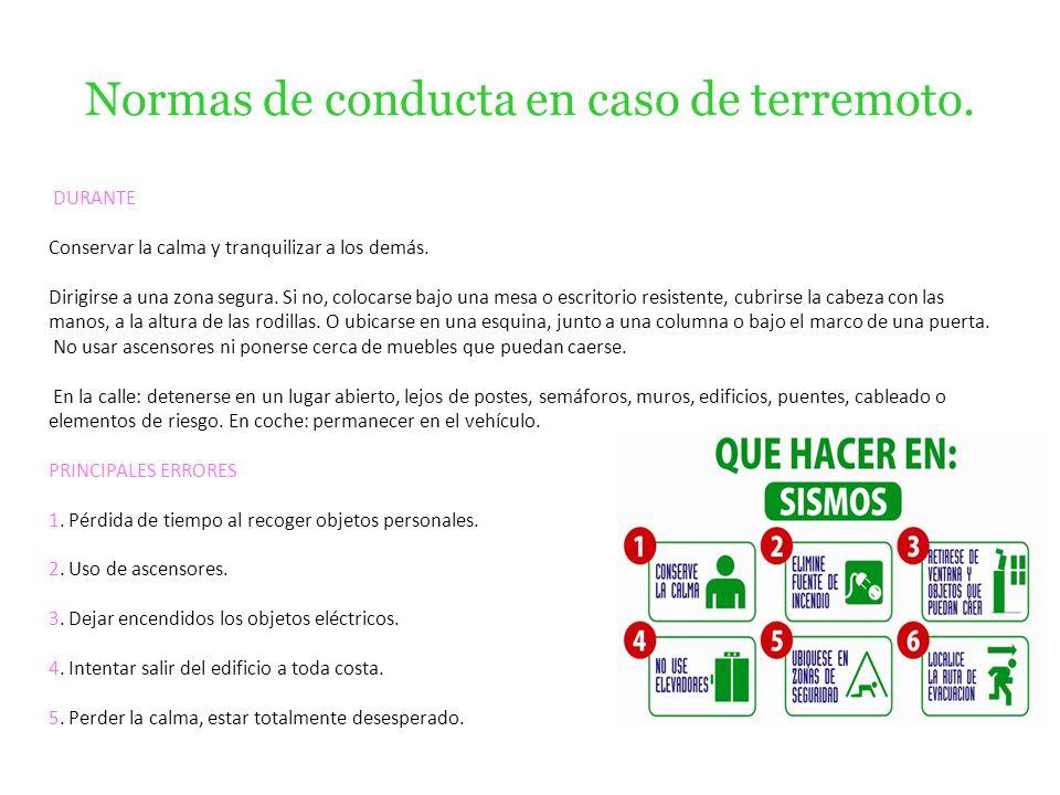 Normas de conducta en caso de terremoto.