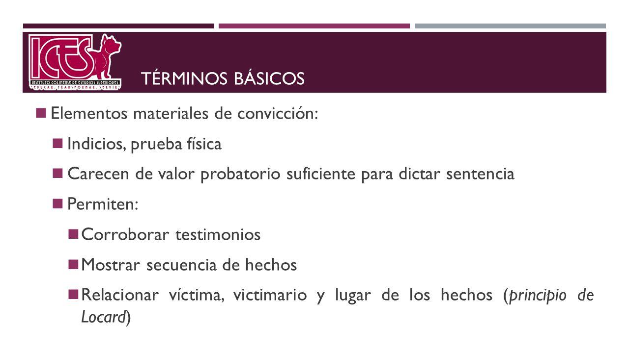 Términos básicos Elementos materiales de convicción: Indicios, prueba física. Carecen de valor probatorio suficiente para dictar sentencia.