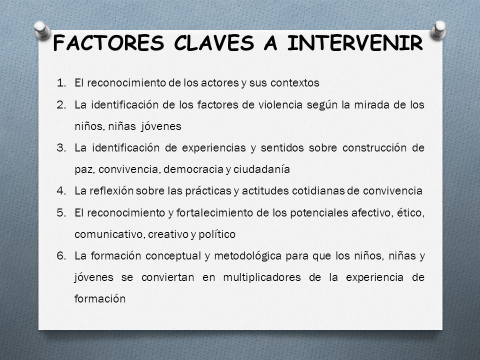 FACTORES CLAVES A INTERVENIR
