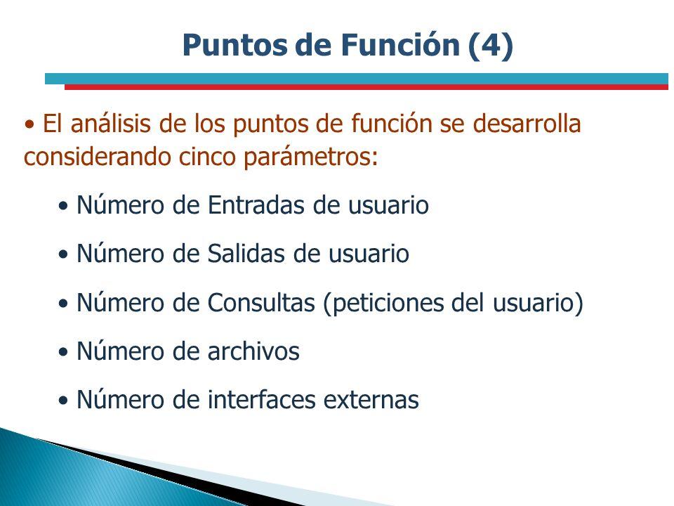 Puntos de Función (4) El análisis de los puntos de función se desarrolla considerando cinco parámetros: