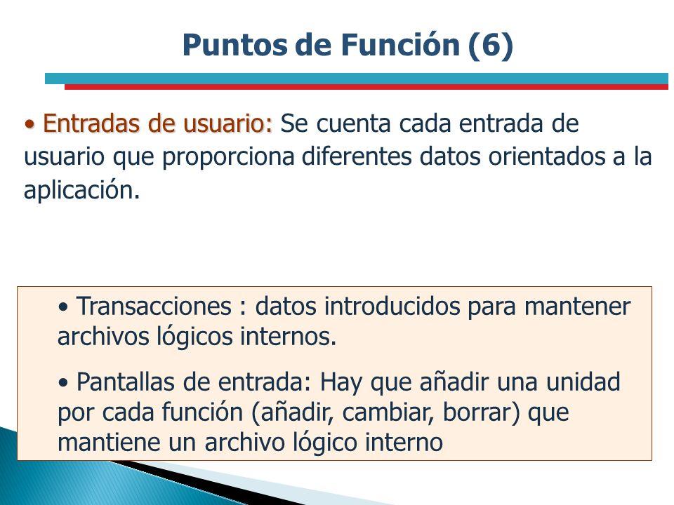 Puntos de Función (6)Entradas de usuario: Se cuenta cada entrada de usuario que proporciona diferentes datos orientados a la aplicación.