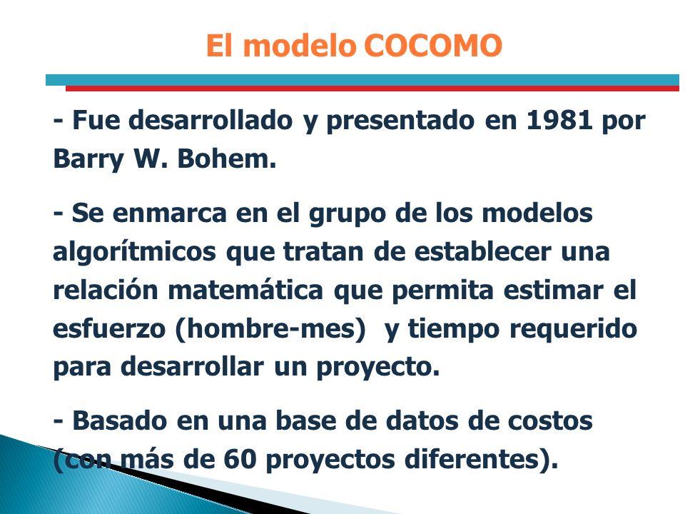 El modelo COCOMO - Fue desarrollado y presentado en 1981 por Barry W. Bohem.