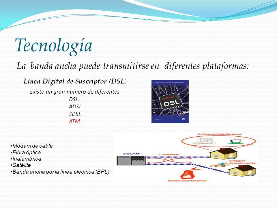 Tecnología La banda ancha puede transmitirse en diferentes plataformas: Línea Digital de Suscriptor (DSL)