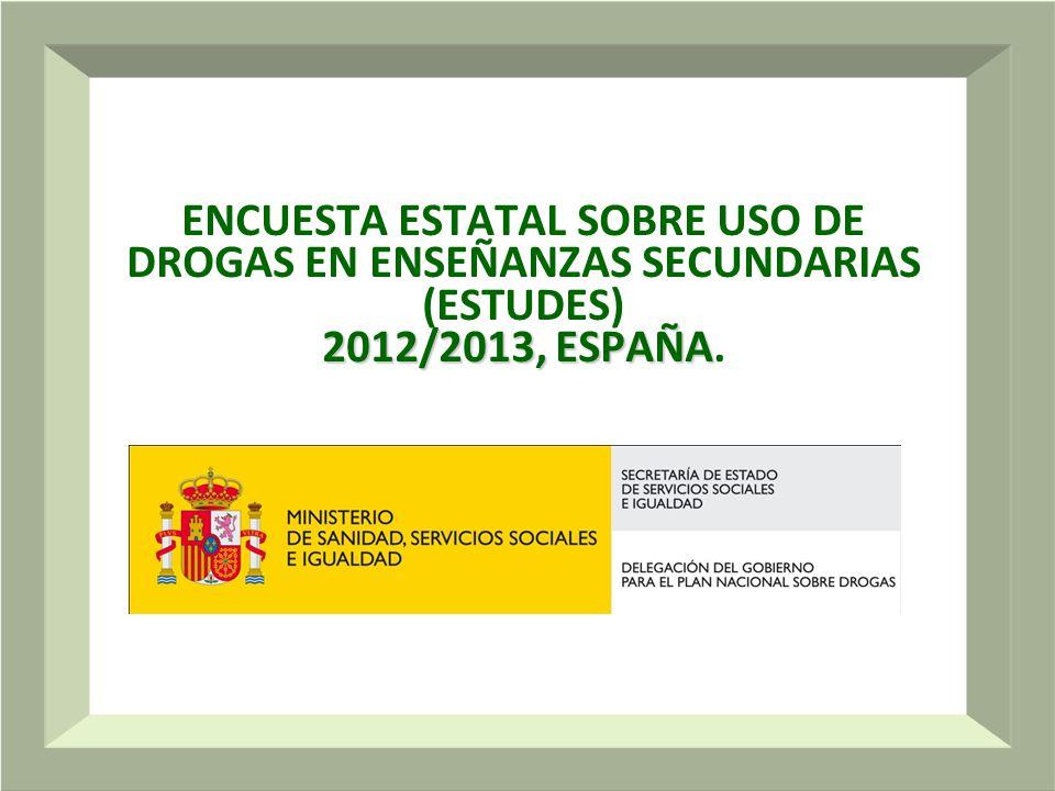 ENCUESTA ESTATAL SOBRE USO DE DROGAS EN ENSEÑANZAS SECUNDARIAS (ESTUDES) 2012/2013, ESPAÑA.
