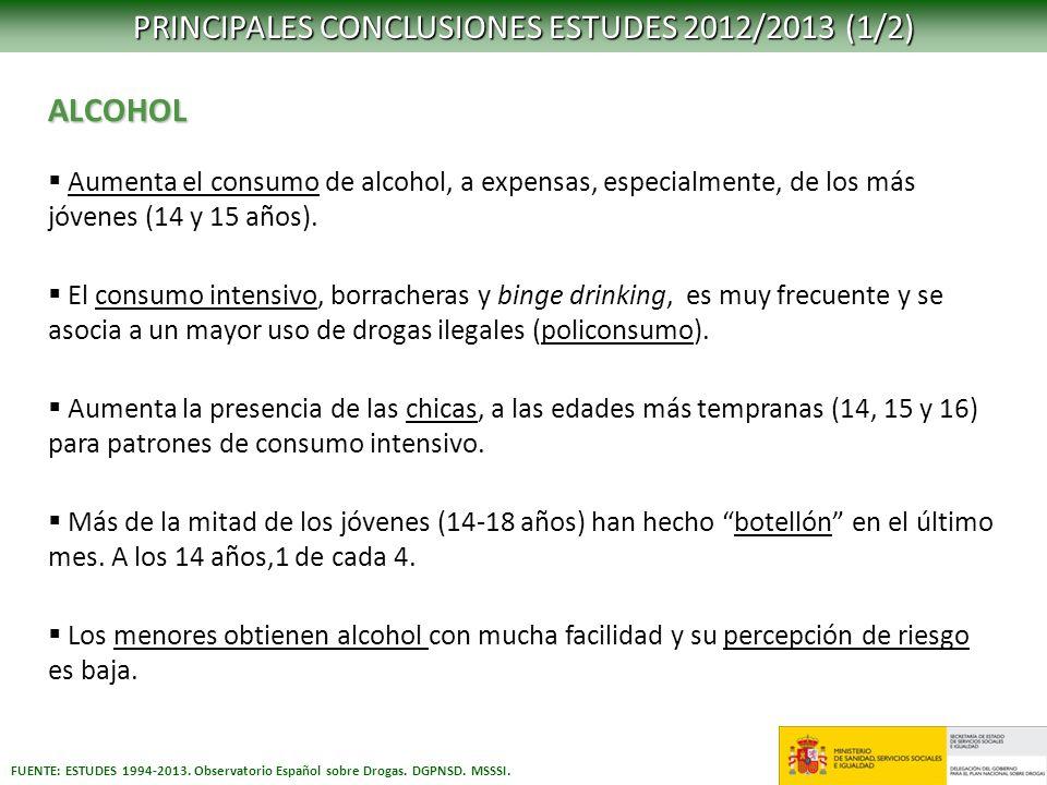 PRINCIPALES CONCLUSIONES ESTUDES 2012/2013 (1/2)