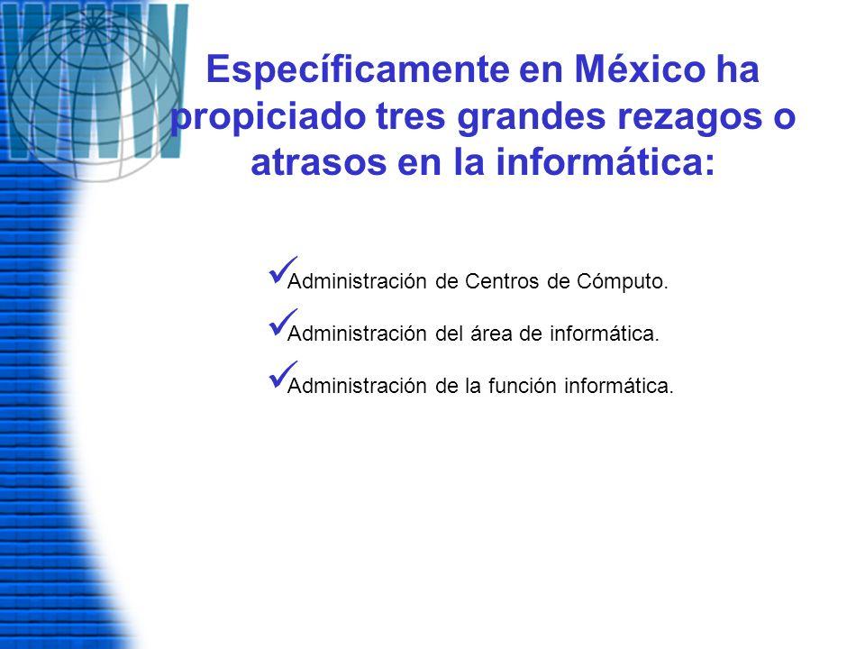 Específicamente en México ha propiciado tres grandes rezagos o atrasos en la informática: