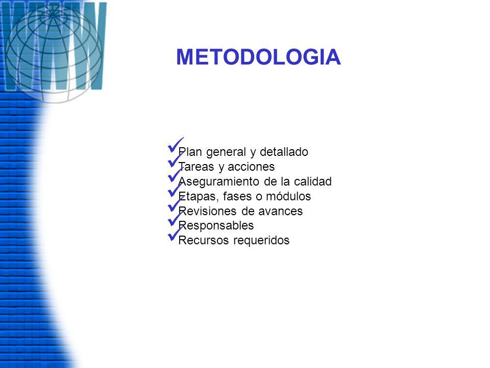METODOLOGIA Plan general y detallado Tareas y acciones