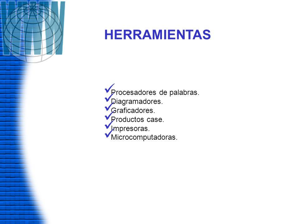 HERRAMIENTAS Procesadores de palabras. Diagramadores. Graficadores.