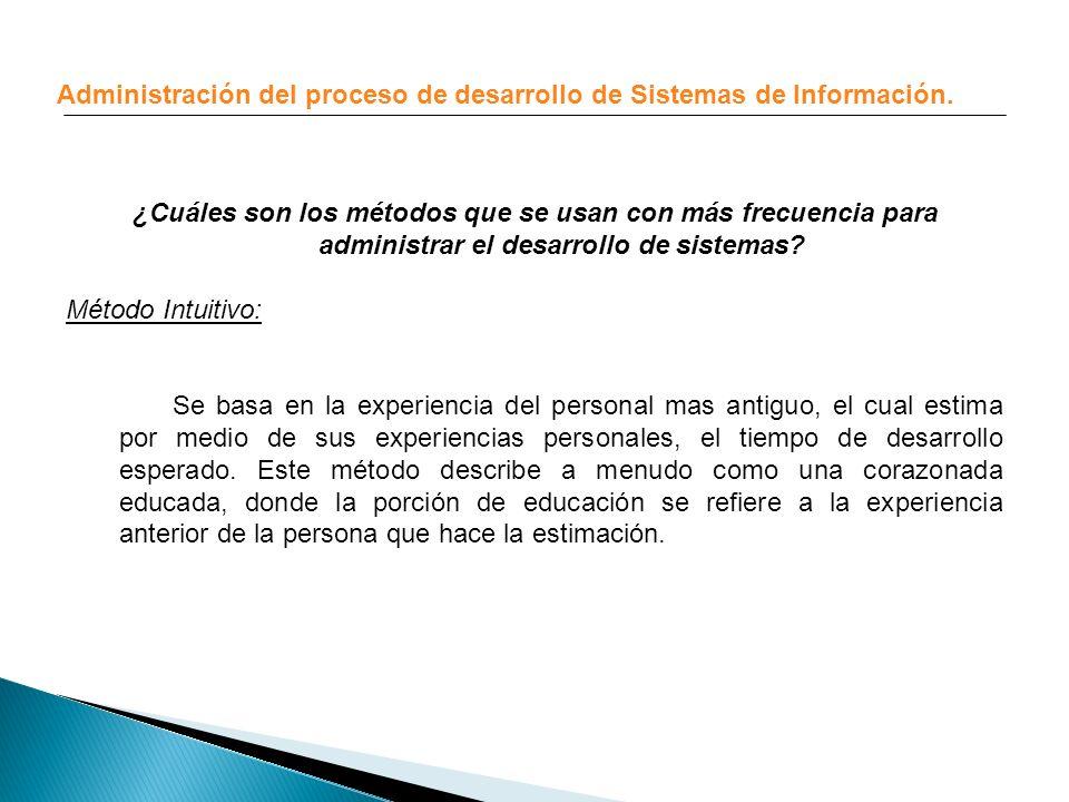 Administración del proceso de desarrollo de Sistemas de Información.