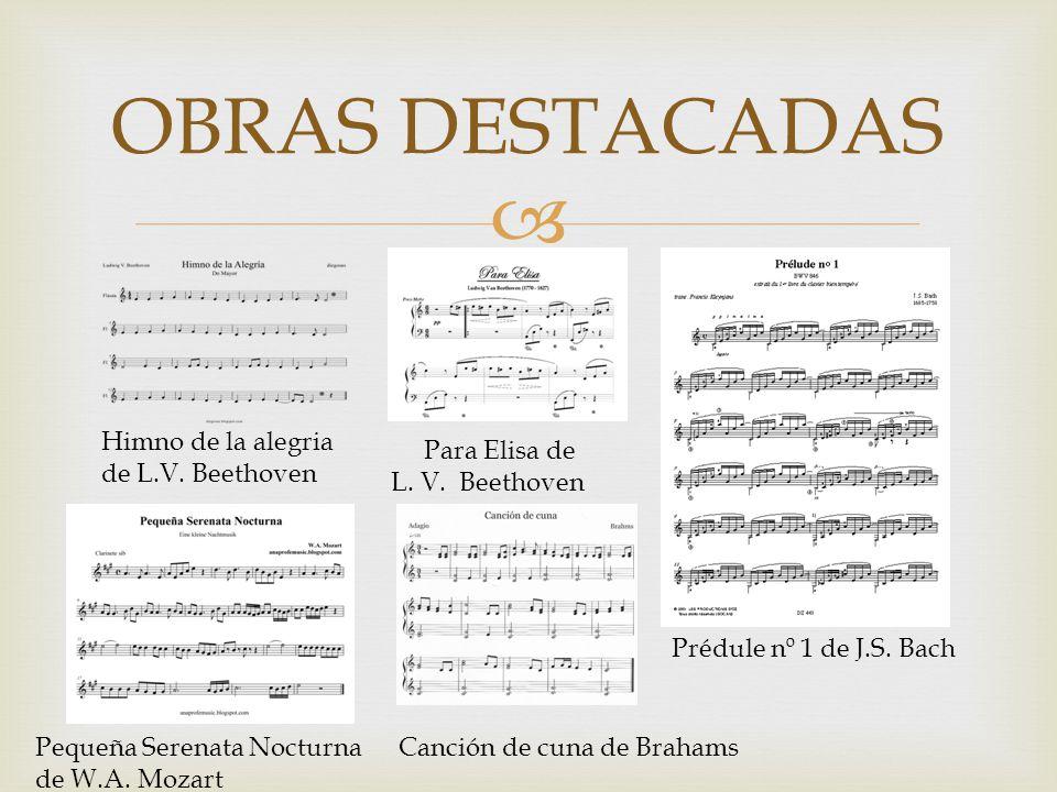 OBRAS DESTACADAS Himno de la alegria de L.V. Beethoven Para Elisa de