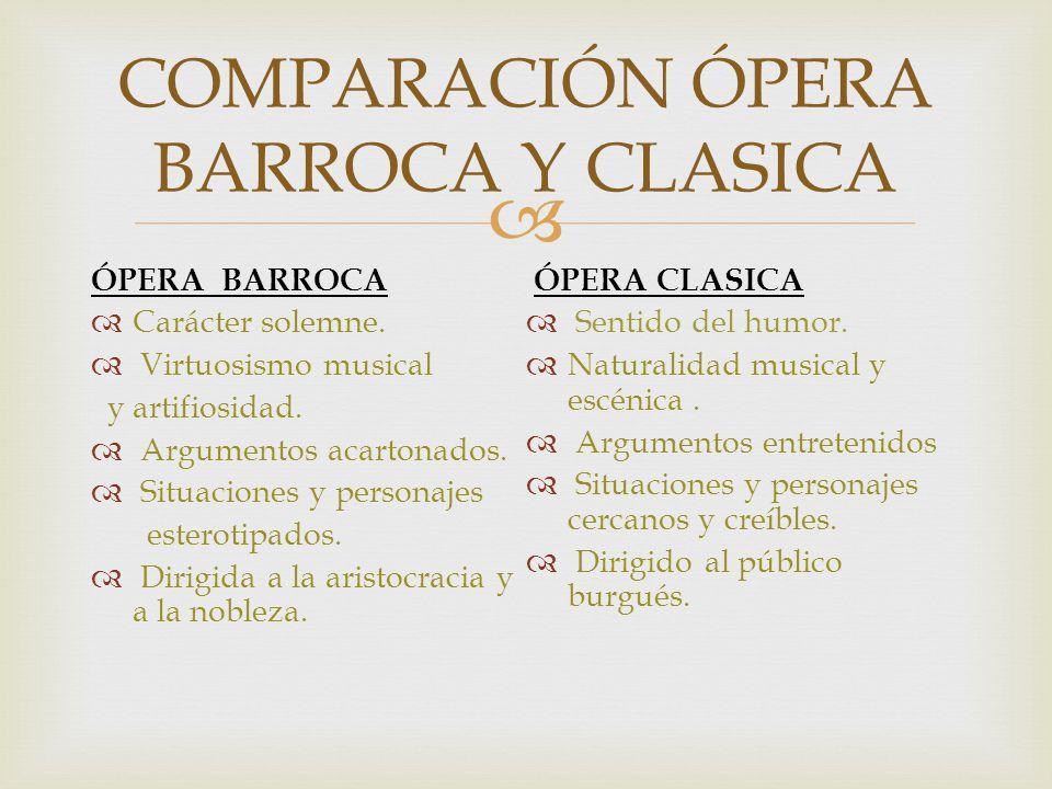 COMPARACIÓN ÓPERA BARROCA Y CLASICA