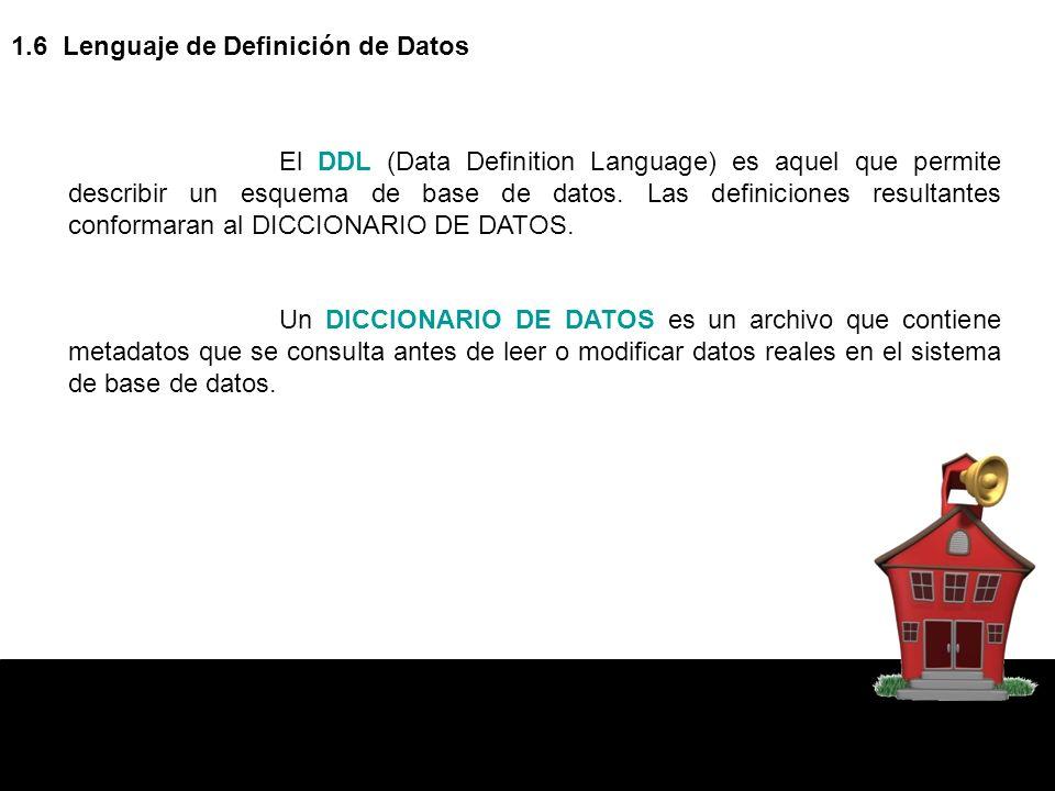 1.6 Lenguaje de Definición de Datos