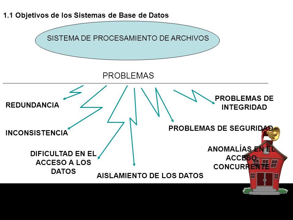 PROBLEMAS 1.1 Objetivos de los Sistemas de Base de Datos