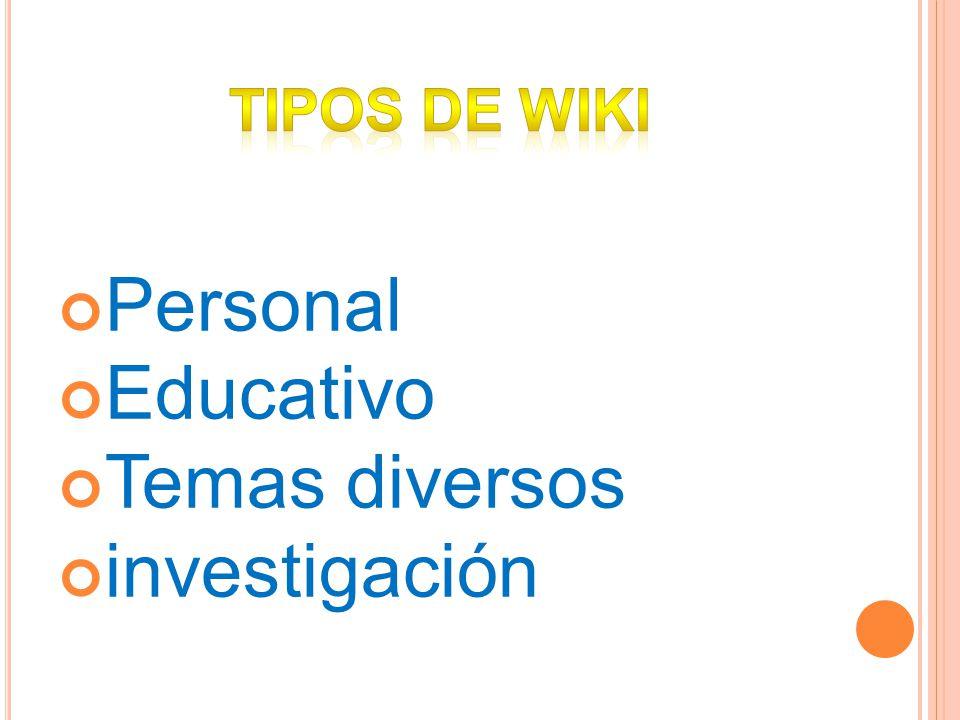 TIPOS DE WIKI Personal Educativo Temas diversos investigación