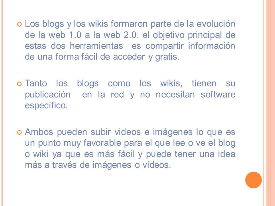 Los blogs y los wikis formaron parte de la evolución de la web 1