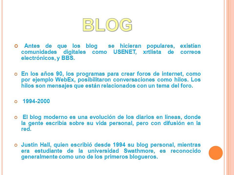 BLOG Antes de que los blog se hicieran populares, existían comunidades digitales como USENET, xrtlista de correos electrónicos, y BBS.