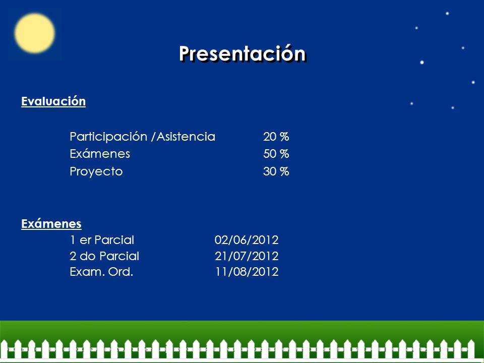 Presentación Evaluación Participación /Asistencia 20 % Exámenes 50 %