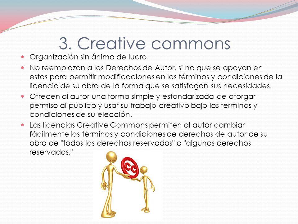 3. Creative commons Organización sin ánimo de lucro.