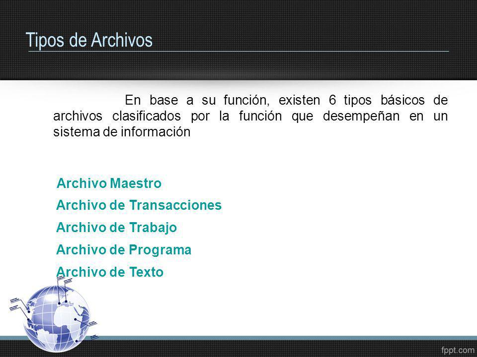 Tipos de Archivos En base a su función, existen 6 tipos básicos de archivos clasificados por la función que desempeñan en un sistema de información.