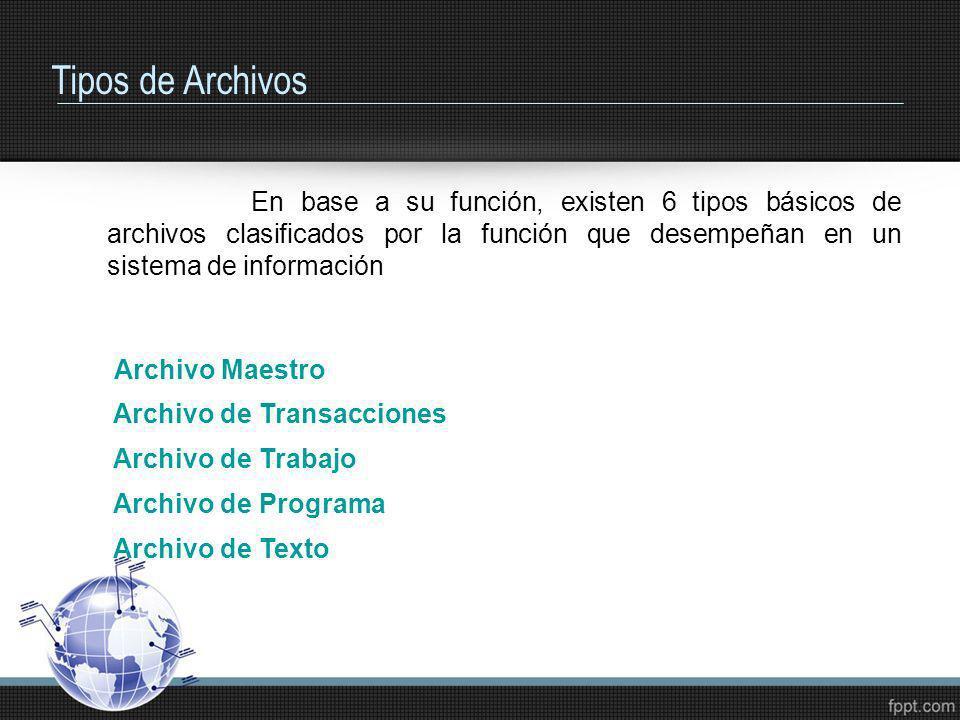 Tipos de ArchivosEn base a su función, existen 6 tipos básicos de archivos clasificados por la función que desempeñan en un sistema de información.