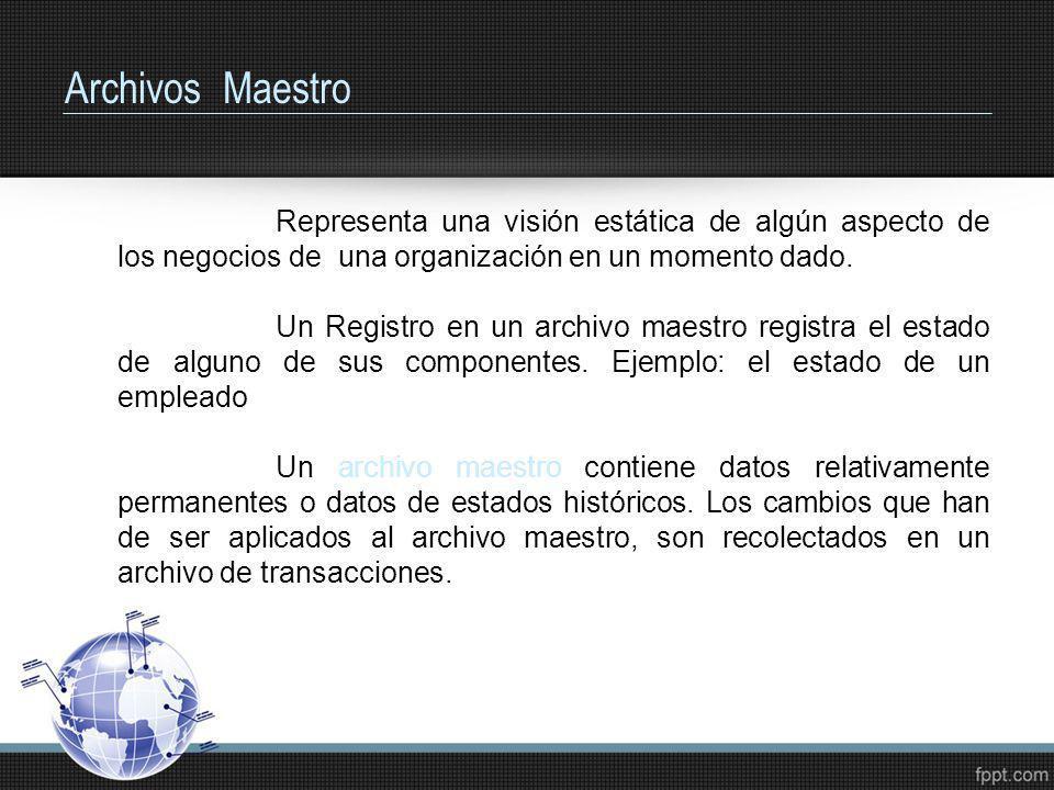 Archivos Maestro Representa una visión estática de algún aspecto de los negocios de una organización en un momento dado.