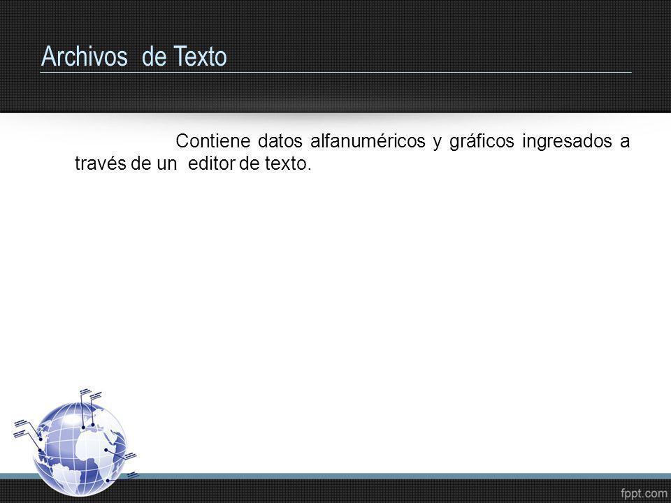 Archivos de TextoContiene datos alfanuméricos y gráficos ingresados a través de un editor de texto.