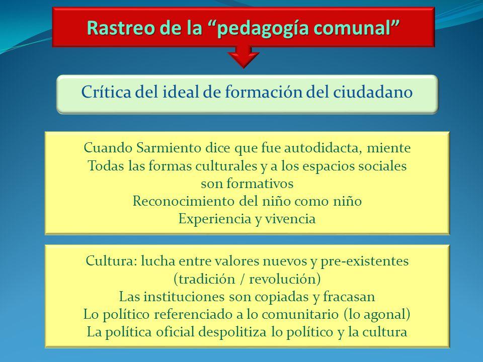 Rastreo de la pedagogía comunal